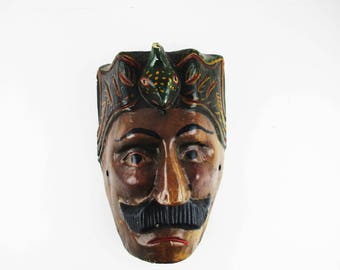 Mask - Lifesize Painted Wood - Man With Moustache and Serpent Headdress - Mask/Plaque of Guatemala - Wall Art - Powerful - Great Colors