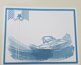 Speed Boat with Flags, Blank inside.