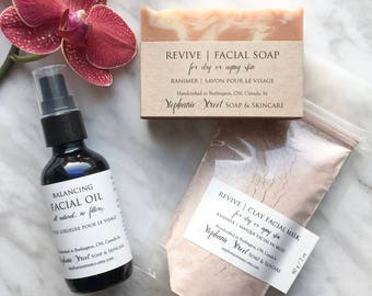 Revive Facial Set for dry or aging skin: Facial Soap, Clay Masque concentrate, Balancing Facial Oil | all natural, essential oils