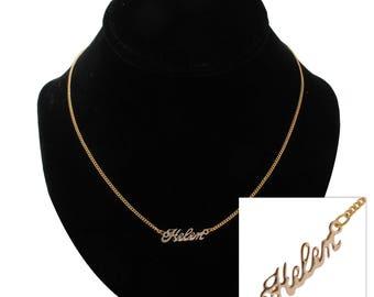"""Script Name Helen Charm Pendant Gold Tone Necklace 16"""" Vintage 70s"""
