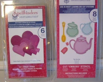 Spellbinders Scrapbooking Templates - Lot of 2 - Cut, Emboss and Stencil