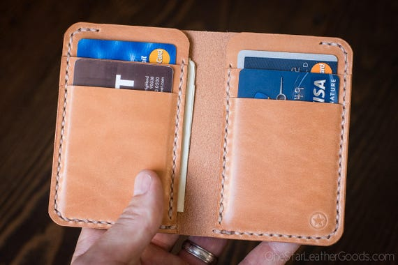 6 Pocket Vertical Wallet - tan harness leather