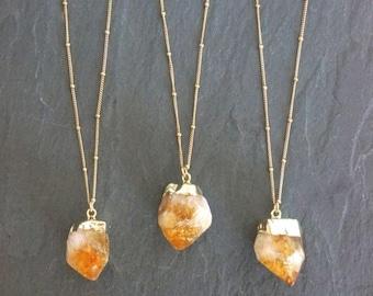 Mid Summer SALE Citrine Necklace // Raw Citrine // Citrine Crystal // Raw Citrine Necklace // Gold Citrine  // November birthstone