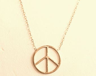 Peace Sign 14k Gold Necklace