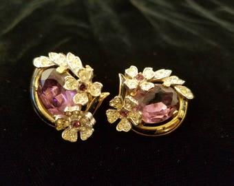 Vintage Pair of Faux Amethyst and Rhinestone Clip On Earrings, Trifari, ca 1950s