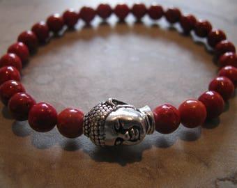 Red Jasper Gemstone Buddha Stretch Bracelet- Yoga, Boho, Energy, Mala, Meditation, Gift, Minimalist-Toniraecreations
