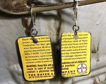 JJ#31 - Vintage Upcycled Recycled Hand Cut Tin Lever Back Dangle Earrings - Bayer Aspirin
