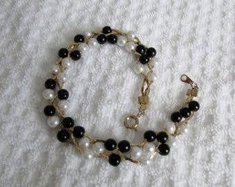 Vintage Bracelet, Pearls & Black Beads, Woven 3 strand Gold Chain, Black and White Jewelry, 7 inch Bracelet ~ BreezyTownship.etsy,com