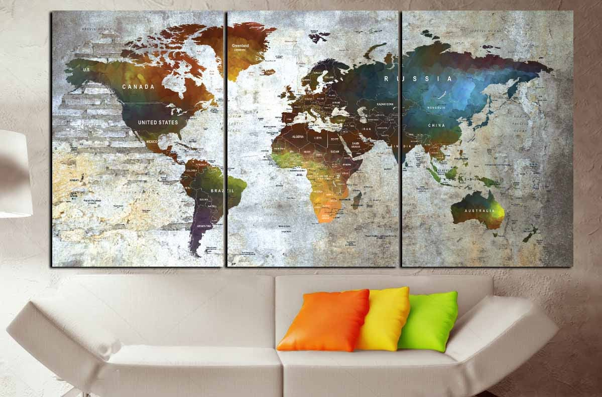 Large watercolor world map canvas panelsworld map artpush pin large watercolor world map canvas panelsworld map artpush pin maptravel mapworld map printworld map colorfulworld map ready to hang gumiabroncs Gallery