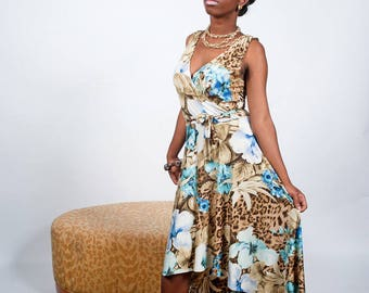 Leopard and Flower Print Maxi Dress