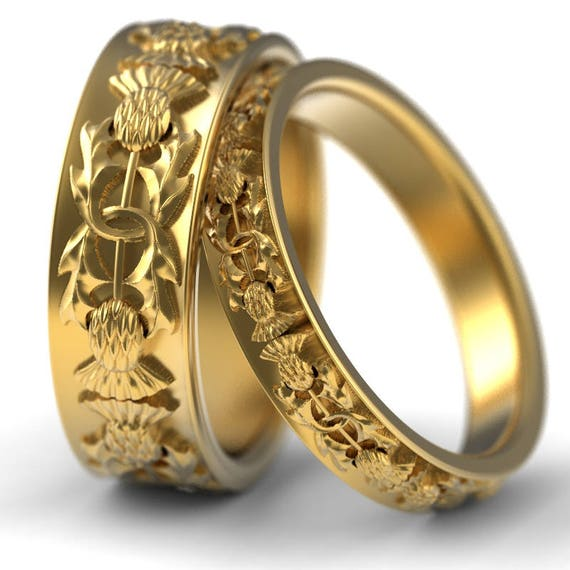 RESERVED FOR Beth Custom Gold Thistle Ring Set, 10K Gold Scottish Ring, Unique Rings for Her, Botanical Jewelry, Handcrafted Rings, 5057