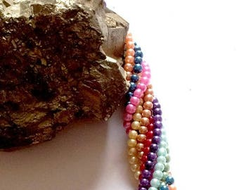 250 small glass beads, 3mm glass Pearl, 4 or 5 colors per set