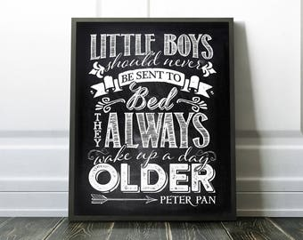 Nursery Art Print - Little Boys - Peter Pan quote - Printable Art - Digital Download - Twins - Baby shower gift - Black and White - SKU:432
