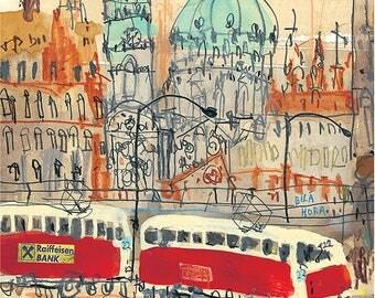 PRAGUE ART PRINT, Czech Republic Painting, 8 x 10 inch, Prague Tram Drawing, Prague Wall Art, Watercolor Sketch, Old Town Prague