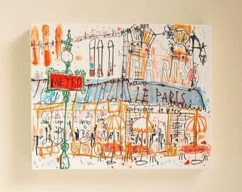 PARIS CAFE CANVAS Paris Art Print, Paris Restaurant, French Cafe Print, Paris Sketch, Mixed Media Painting, Parisian Wall Art, Signed Canvas