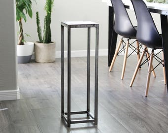 Modern Industrial Metal Plant Stand Accent Pedestal Sokol Table Mid Century by Petrykowski