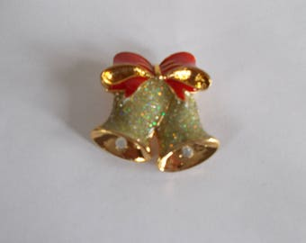 Vintage Small Sparkly Christmas Bell Brooch //9