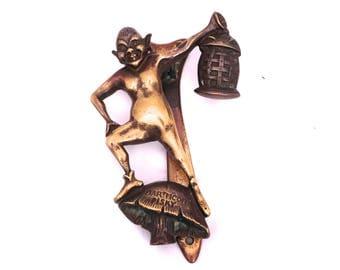 Vintage Dartmoor Pisky Door Knocker, Brass Pixie Door Knocker, Elf Door Knocker, Antique Door Knocker, Solid Brass Door Knocker Goblin
