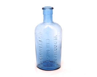 Victorian Woodward Chemist Nottingham Bottle, Blue Apothecary Bottle, Old Pharmacy Bottle, Apothecary Medicine Bottle, Glass Chemist Bottle