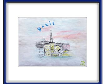 ORIGINAL  PARIS  Watercolor  Abstract  Painting  Contemporary  ART  Modern Eiffel Tower Cityscape by Tanja Bell