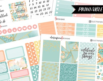 Celebrate - PRINTABLE Planner Sticker Kit for Erin Condren w/ cutfiles | floral geometric tiffany blue glitter silhouette