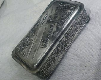 Antique 'Woman's Friend' Silver Plate Box Detailed Floral Relief Beauty Fun Gift Statement on Women of the Day FREE Ship in USA