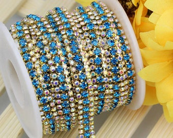 3 Row Gold Tone Lake BLue and AB Clear Rhinestones Trim - Crystal Chain - Wedding Cake Deco - 2mm & 3mm Rhinestone  1 yard