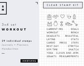 Workout   3x4   Planner and Journal Clear Stamp Kit   Health and Fitness