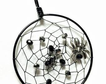 Clearance Spider Web Pendant, Spider Dream Catcher, Halloween Dream Catcher Necklace