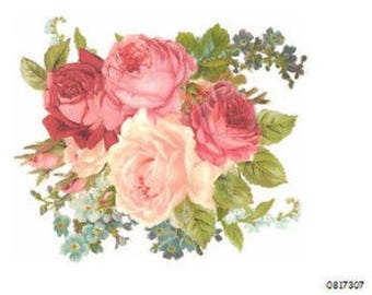 VinTaGe XL MiXeD PinK RoSeS ShAbBy DeCaLs ~FuRNiTuRe SiZe~