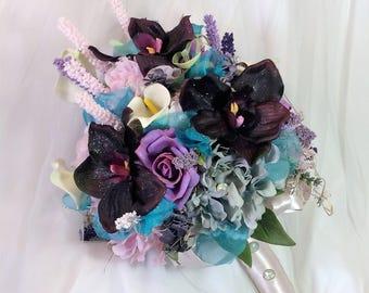 Wedding Bridal Flowers-Wedding Flower Bouquet-Tropical Wedding-Plum-Aqua-Wedding Flowers-Bride's Bouquet-Brides Flowers-Destination Wedding
