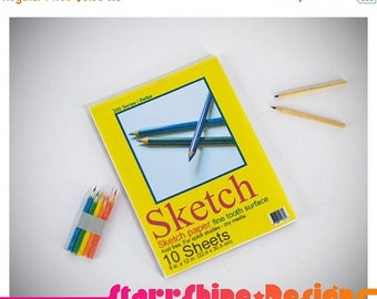 Thank You Sale 25% Off BJD Doll Props - 1/4 MSD Sketchbook and Pencil Set