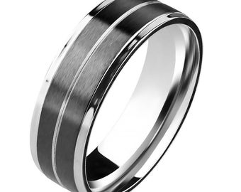 Personalized Double Channel Black IP Center Stainless Steel Ring