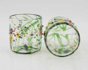 Hand Blown Glass Tumblers - Double Old Fashion - Rocks Glasses