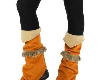 ON SALE Hippie legwarmers, fleece leg warmers, short pixie gaiters, orange / brown gypsy legwarmers, medioval accessories, ethnic colored le