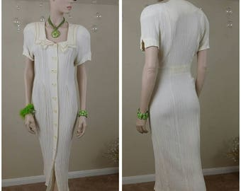 Vintage ivory 80s dress Atina by Karon Crosby size 10 button front