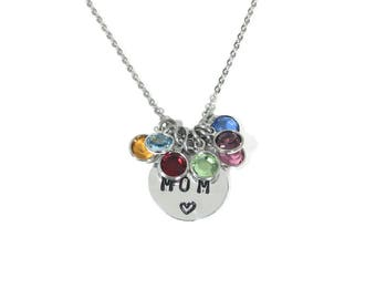 Personalized gifts for mom,Kids birthstones mom necklace,Personalized christmas gift for women,Mom of 5,Mom of 4,Mom of 2,Mom of twins