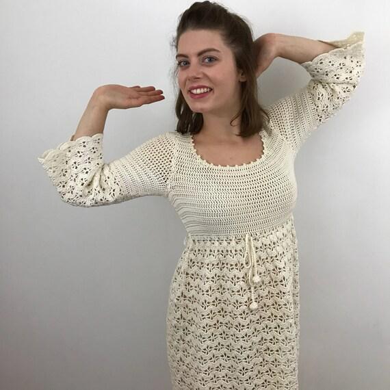 vintage crochet dress cream crochet gown hippie vintage bridal long straight dress 1960s boho cream ecru natural UK 8 10 wedding