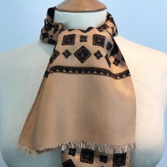 Vintage gents scarf square geometric slky crepe acetate gentlemans cravat menswear scarf brown cream long oblong Mod neckerchief hugh hefner