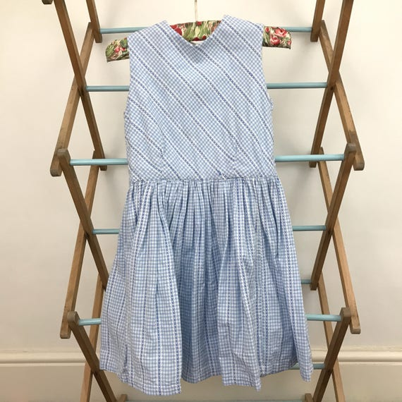 Vintage girls dress 1950s cotton dress blue check plaid gingham dress 50s baby blue age 5 white collar