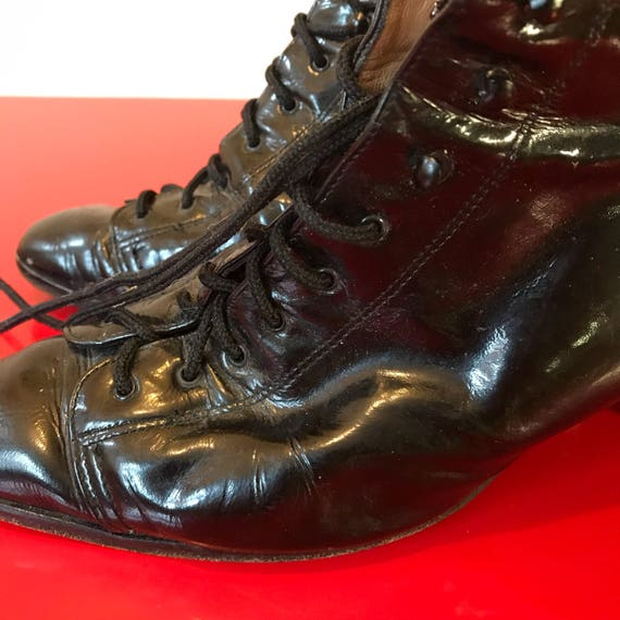 Vintage boots black patent lace up all leather long boots hob nail victorian style steampunk UK 5.5 US 8 black 1920s look Russell Bromley