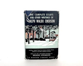 Ralph Waldo Emerson Poems Essays - Vintage Emerson Book - Ralph Waldo Emerson Vintage Book - Vintage Modern Library Book - Literary Gift