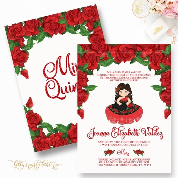 Quinceaera Invitation Red Quince Invite Rose Quinceaera