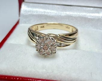 Vintage 0.50CT Engagament Ring l 14KT Yellow Gold Diamond Ring l Engagament Ring l Wedding Ring