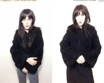 SUMMER SALE Vtg 50's 60's Black Persian Curly Lambs Wool Swing Coat With Fur Collar SZ Xs Small - Goth Minimalist Glam Fall Winter Boho