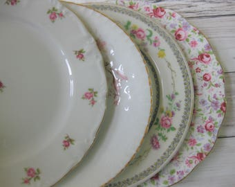 Mismatched China Luncheon Plates, 4 piece set of Mismatched China Plates, Wedding Decor