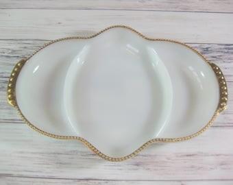 Fire King Milk Glass Relish Dish, Anchor Hocking Fire King Milk Glass Divided Dish, Gold Trim