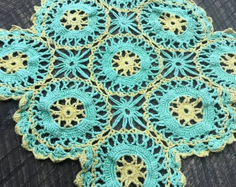 Vintage Crocheted Green and Yellow Doily