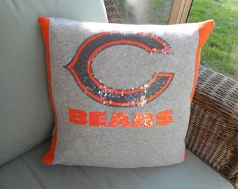 Chicago Bears NFL Football Upcycled/recycled T-shirt 16x16 Pillow Cover