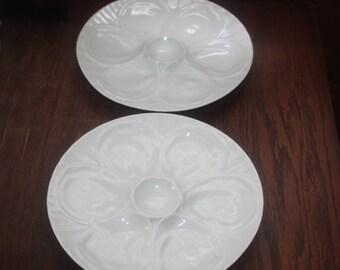Vintage Pair White Porcelain Six Serve Oyster Plates France